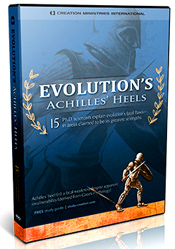 """Visually stunning animations and dramatic footage help to show how the theory of Evolution's supposed strengths are, in fact, its fatal flaws—Evolution's Achilles' Heels.  Like no other work that we are aware of, fifteen Ph.D. scientists collaborated to produce a coordinated, coherent, powerful argument. All of the contributors received their doctorates from similar secular universities as their evolutionary counterparts. Each is a specialist in a field relevant to the subject: Natural selection, origin of life, geology, genetics, radiometric dating, the fossil record, cosmology, and ethics."" - PatriotDepot"