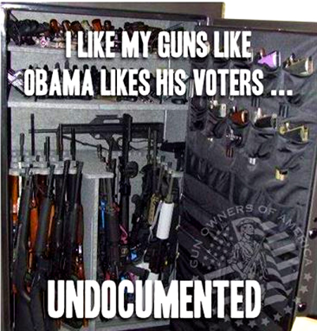 """With Congress currently fighting the President's Amnesty, it's a good time to remind him that some things should be ""undocumented""! -  Gun Owners Of America"