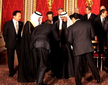It was a very discomforting moment for me and other Americans who (1) don't think an American president should bow to any King and (2) no American, president or otherwise, should bow to a King who oversees a Wahhabist state which seeks to export Shariah law and violence against anyone who is not Male and not from the same extreme form of Islam.