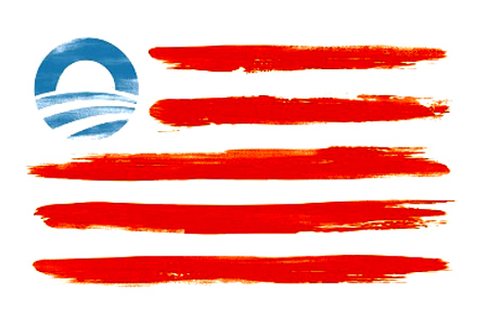 """If you go to barackobama.com right now (September 20, 2012), you can buy your very own limited edition American flag print. But this isn't any ordinary American flag; this is an American flag that replaces the 50 stars representing the 50 states with President Obama's campaign logo."" - The Blaze"